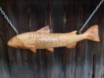 Reklama pro rybáře, materiál- borovice